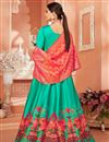 picture of Fancy Cyan Color Party Wear Printed Anarkali Suit In Satin Silk Fabric