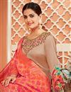 photo of Sangeet Wear Chikoo Color Fancy Satin Silk Fabric Printed Anarkali Dress