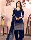 image of Embroidery Work Sangeet Wear Stylish Patiala Suit In Navy Blue Color Art Silk Fabric