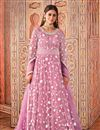 image of Pink Color Party Style Embroidered Net Fabric Anarkali Suit