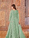 photo of Net Fabric Party Style Sea Green Color Embroidered Anarkali Suit
