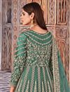 photo of Cyan Color Function Wear Embroidered Net Fabric Anarkali Salwar Suit