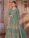 image of Cyan Color Function Wear Embroidered Net Fabric Anarkali Salwar Suit