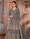 image of Grey Color Festive Wear Embroidered Net Fabric Anarkali Salwar Kameez
