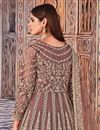 photo of Net Fabric Party Wear Peach Color Embroidered Anarkali Salwar Suit
