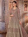 image of Net Fabric Party Wear Peach Color Embroidered Anarkali Salwar Suit