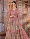 image of Pink Color Net Fabric Function Wear Embroidered Anarkali Salwar Kameez