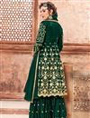 photo of Party Wear Dark Green Embroidered Designer Sharara Dress In Georgette