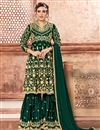 image of Party Wear Dark Green Embroidered Designer Sharara Dress In Georgette