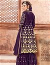 photo of Designer Embroidery Work On Purple Georgette Party Wear Sharara Suit