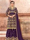 image of Designer Embroidery Work On Purple Georgette Party Wear Sharara Suit