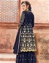 photo of Georgette Designer Navy Blue Party Wear Sharara Suit With Embroidery Work