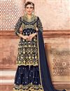 image of Georgette Designer Navy Blue Party Wear Sharara Suit With Embroidery Work