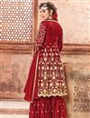 photo of Georgette Party Wear Designer Sharara Suit In Red With Embroidery