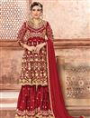 image of Georgette Party Wear Designer Sharara Suit In Red With Embroidery
