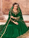 photo of Georgette Designer Green Floor Length Anarkali Dress With Embroidered Dupatta
