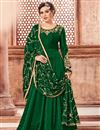 image of Georgette Designer Green Floor Length Anarkali Dress With Embroidered Dupatta
