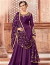 image of Function Wear Purple Long Length Anarkali Suit In Georgette With Embroidered Dupatta