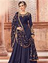 image of Navy Blue Designer Floor Length Anarkali Suit In Georgette With Embroidered Dupatta