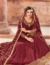 photo of Designer Maroon Function Wear Anarkali Suit In Georgette With Embroidered Dupatta