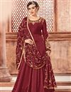 image of Designer Maroon Function Wear Anarkali Suit In Georgette With Embroidered Dupatta