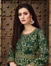 photo of Taffeta Silk Designer Embroidered Dark Green Floor Length Anarkali Dress