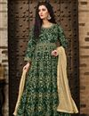 image of Taffeta Silk Designer Embroidered Dark Green Floor Length Anarkali Dress
