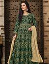 image of Taffeta Silk Designer Embroidered Dark Green Floor Length Anarkali Dress