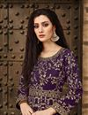 photo of Fancy Taffeta Silk Designer Purple Floor Length Embroidered Anarkali Suit