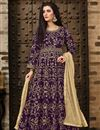 image of Fancy Taffeta Silk Designer Purple Floor Length Embroidered Anarkali Suit
