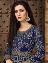 photo of Designer Navy Blue Taffeta Silk Fancy Long Length Embroidered Anarkali Suit
