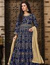 image of Designer Navy Blue Taffeta Silk Fancy Long Length Embroidered Anarkali Suit