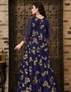photo of Navy Blue Function Wear Net Fabric Fancy Embroidered Floor Length Anarkali Suit