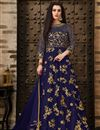 image of Navy Blue Function Wear Net Fabric Fancy Embroidered Floor Length Anarkali Suit