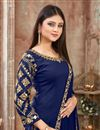 photo of Embroidery Work On Art Silk Fabric Navy Blue Function Wear Patiala Salwar Suit