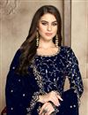photo of Fancy Georgette Festive Wear Embroidered Navy Blue Anarkali Dress