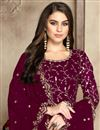 photo of Eid Special Fancy Festive Wear Burgundy Color Georgette Embroidered Anarkali Dress