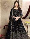 image of Eid Special Fancy Georgette Festive Wear Embroidered Black Anarkali Dress