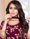 photo of Georgette Fabric Dark Magenta Color Festive Wear Anarkali Suit With Embroidery Designs