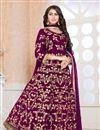 image of Georgette Fabric Dark Magenta Color Festive Wear Anarkali Suit With Embroidery Designs