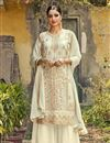 image of Off White Color Festive Wear Georgette Fabric Fancy Embroidered Palazzo Dress