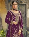 photo of Festive Wear Fancy Georgette Fabric Embroidered Palazzo Suit In Purple Color