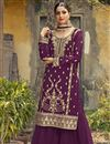 image of Festive Wear Fancy Georgette Fabric Embroidered Palazzo Suit In Purple Color