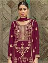 photo of Burgundy Color Festive Wear Fancy Embroidered Palazzo Dress In Georgette Fabric