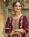 photo of Festive Wear Maroon Color Fancy Embroidered Palazzo Suit In Georgette Fabric