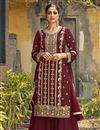 image of Festive Wear Maroon Color Fancy Embroidered Palazzo Suit In Georgette Fabric