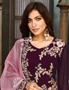 photo of Function Wear Georgette Fabric Purple Color Embroidered Salwar Suit