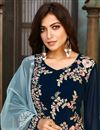 photo of Navy Blue Color Festive Wear Embroidered Georgette Fabric Salwar Suit