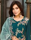 photo of Teal Color Party Style Embroidered Georgette Fabric Salwar Suit