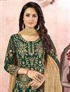 photo of Green Color Embroidered Georgette Fabric Party Wear Palazzo Salwar Kameez